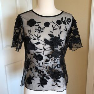 TOPSHOP black lace top with rose and flower detail